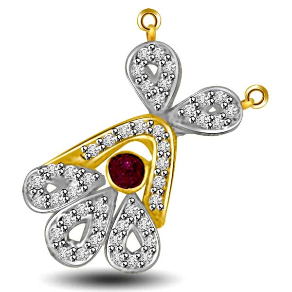 Diamond Pendants-Ruby and Diamond Two Tone Pendant