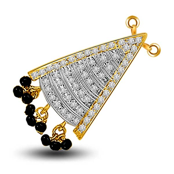 Diamond Pendants-Diamond and Gold Mangalsutra Pendant