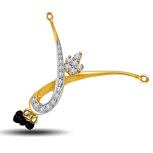 Diamond Pendants-Two Tone Diamond Mangalsutra Pendant