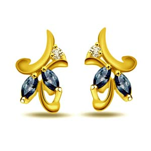 Diamond Earrings-Diamond and Sapphire Earrings