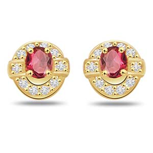 Diamond Earrings-Diamond and Ruby Earrings