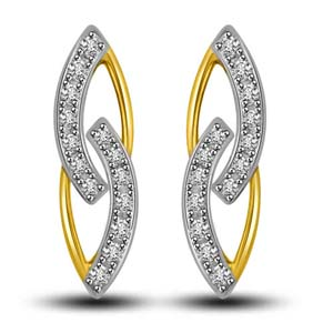 Diamond Earrings-Two Tone Gold and Diamond Earrings