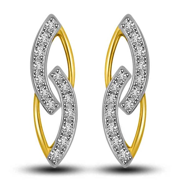 Two Tone Gold and Diamond Earrings