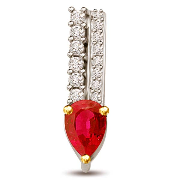 Pear Shaped Ruby and Round Diamond Pendant