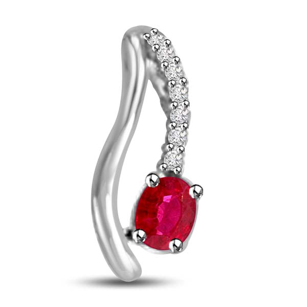 Diamond Pendants-Ruby Pendant with Diamond Accent in White Gold