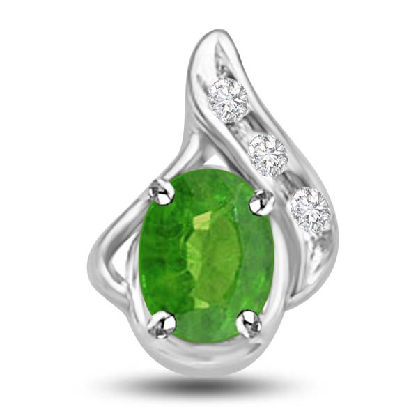 Diamond Pendants-Emerald and Diamond Pendant in White Gold
