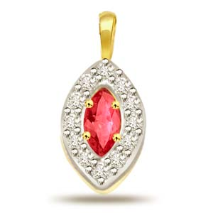 Diamond Pendants-Diamond and Ruby Pendant