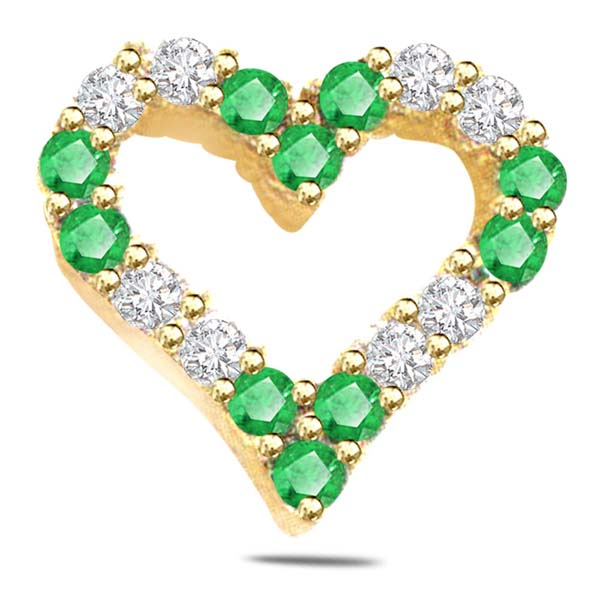 Diamond and Emerald Heart Shape Pendant