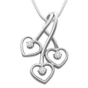 Diamond Pendants-Diamond and Silver Pendant