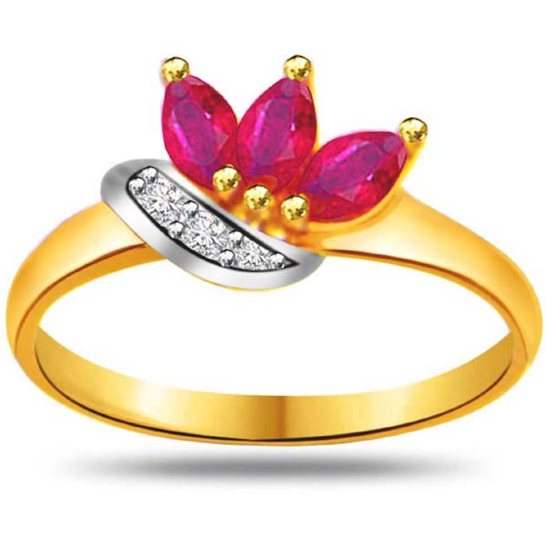 Diamond & Marquise Ruby Ring
