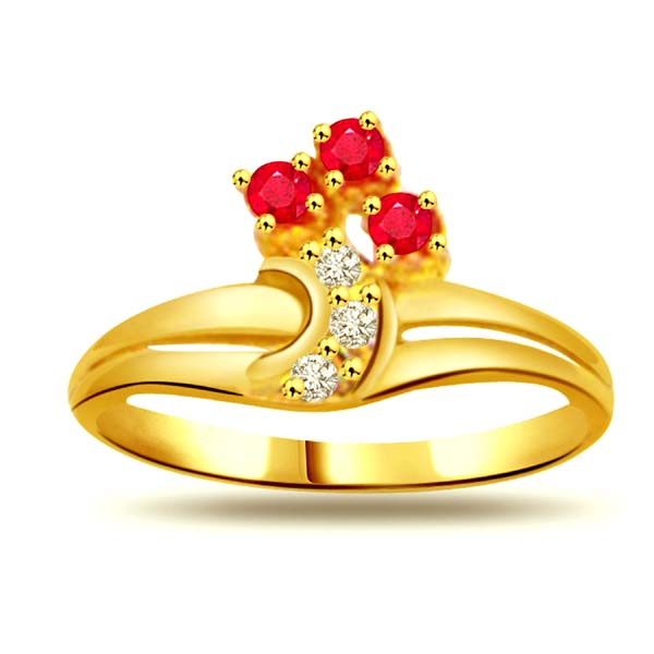 Diamond-Diamond & Ruby Gold Ring