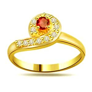Diamond-Trendy Diamond & Ruby Ring