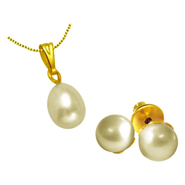 Freshwater Pearl & Gold Plated Pendant Set