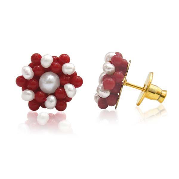 Pearl & Red Coral Earrings