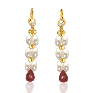 Pearl Earrings-Drop Ruby & Rice Pearl Earrings