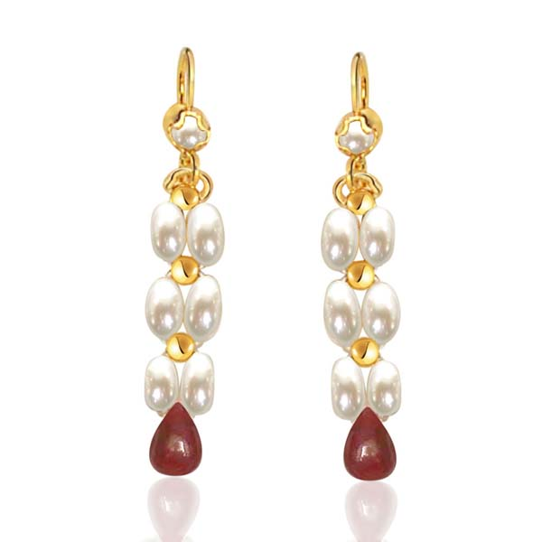 Drop Ruby & Rice Pearl Earrings