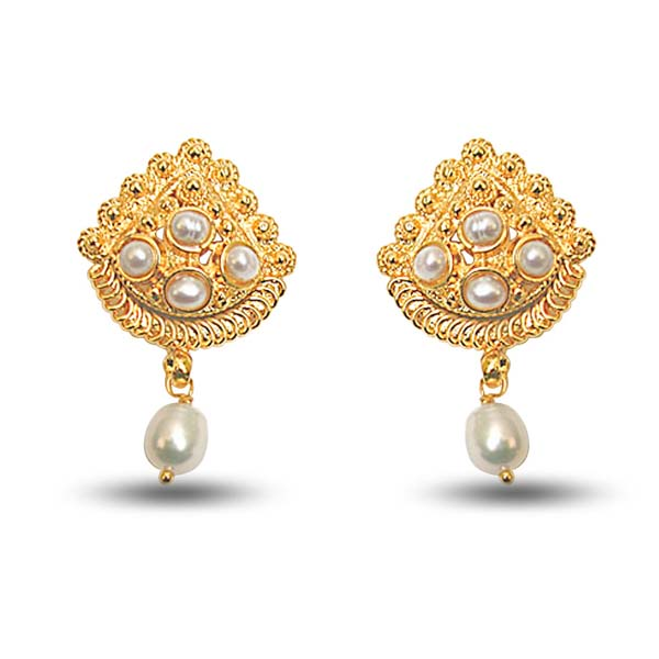 Pearl Earrings-24Kt Gold Plated Earrings with Freshwater Pearl