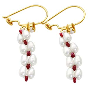 Pearl Earrings-Pearl & Ruby Earrings