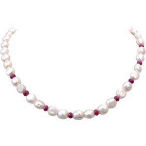 Pearl Necklaces-Ruby and Pearl Necklace