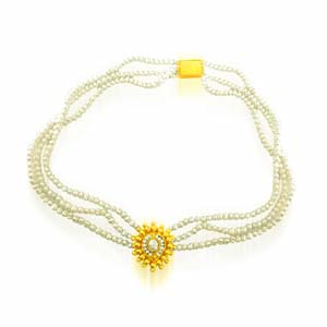 Pearl Necklaces-3 Line Pearl Necklace