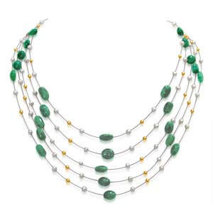Pearl Necklaces-5 Line Emerald and Pearl Necklace