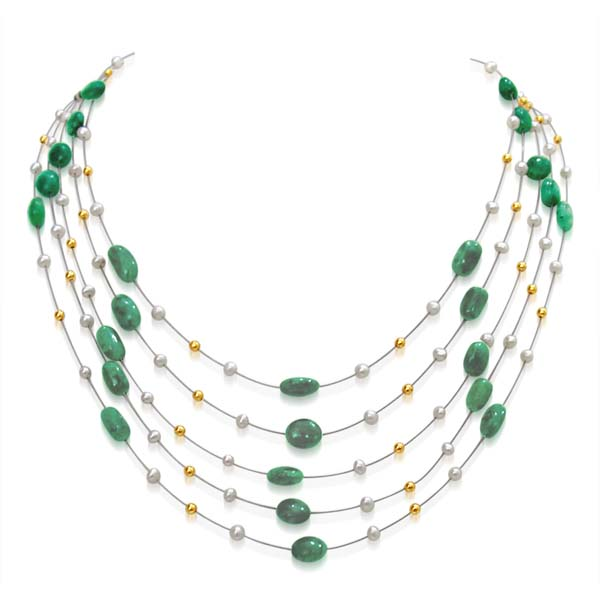 5 Line Emerald and Pearl Necklace