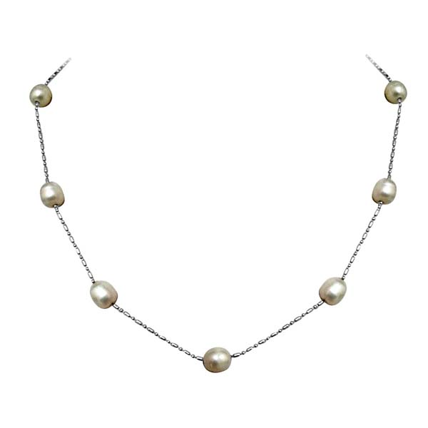 Necklace-Pearl & Silver Plated Chain