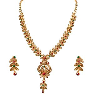 Gold Plated Sets-Traditional Floral Shaped Necklace & Earrings Set
