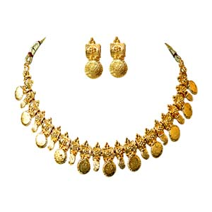 Gold Plated Sets-Coin Shaped Necklace & Earrings Jewelry Set