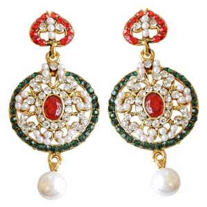 Gold Plated Earrings-Round Shaped Chand Bali Earrings