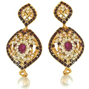 Gold Plated Earrings-Drop Shaped Chand Bali Earrings