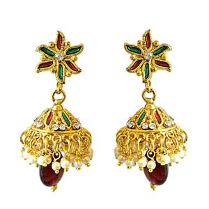 Precious Stone Earrings-Traditional Floral Shaped Copper Jhumki Earrings