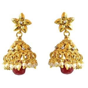 Precious Stone Earrings-Traditional Copper Jhumki Earring