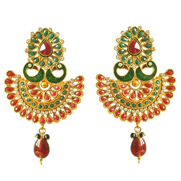Traditional Peacock Shaped Copper Earrings