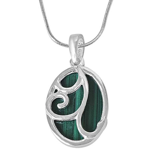 Trendy Oval Malachite & Pendant Chain