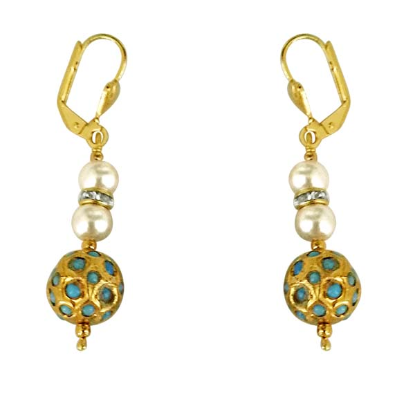 Pearl Earrings-Turquoise Kundan Ball & Shell Pearl Earrings
