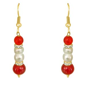 Precious Stone Earrings-Real Pearl & Red Stone Earrings