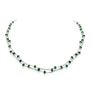 Pearl Necklaces-Three Lined Emerald Bead and Pearl Necklace