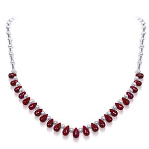 Pearl Necklaces-Round Pearl & Drop Ruby Necklace