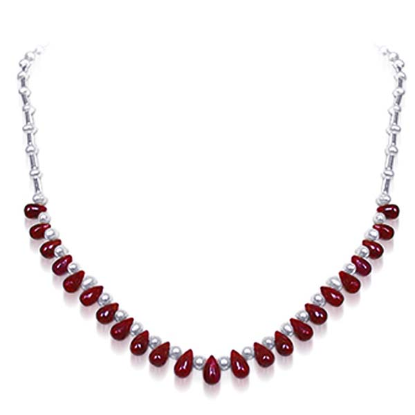 Round Pearl & Drop Ruby Necklace
