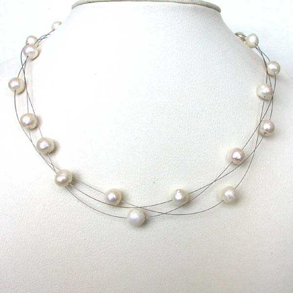 Pearl Necklaces-Three Line Freshwater Pearl Necklace