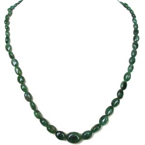 Precious Stone Necklaces-Single Line Oval Shape Necklace
