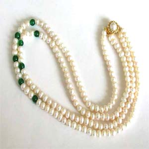 Pearl Necklaces-Two Line Round Pearl Necklace