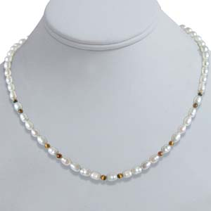 Pearl Necklaces-Pearl / Tiger Eye Necklace