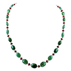 Precious Stone Necklaces-Real Oval Emerald Necklace