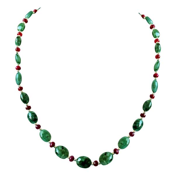 Real Oval Emerald Necklace