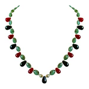 Precious Stone Necklaces-Oval Emerald Beads Necklace