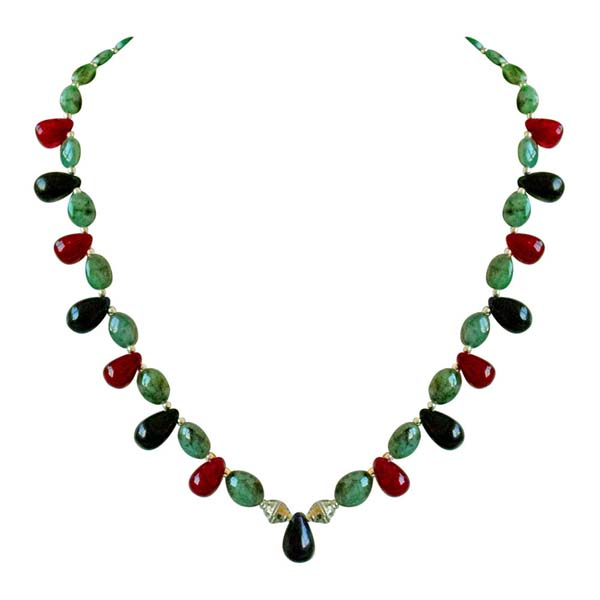 Oval Emerald Beads Necklace
