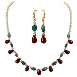 Precious Stone Sets-Real Oval Necklace Earrings Set