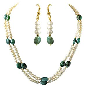 Pearl Sets-Real Oval Emerald Necklace & Hanging Earrings Set